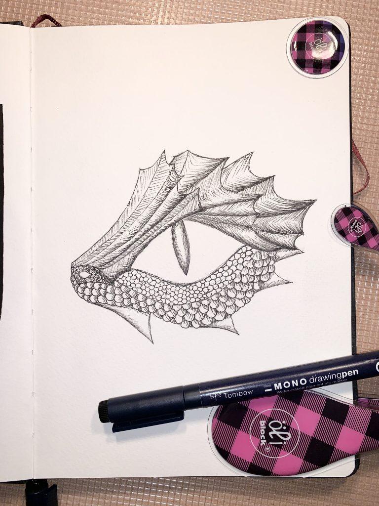 Drachen-Aquarell - Vorskizze