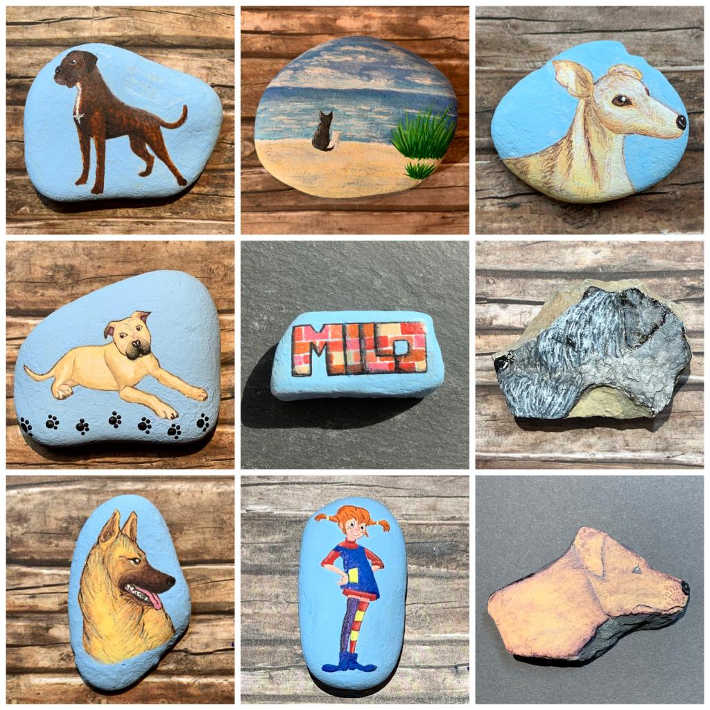 DUD-STEINE , Hunde auf Stein
